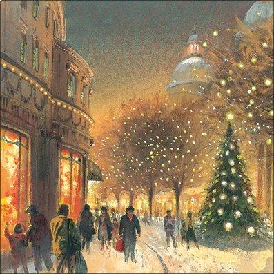 """Almanac Gallery ALM8987 - Biglietti di Natale di beneficenza, soggetto: """"Natale in città"""", confezione da 8 biglietti"""