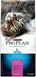 Purina Pro Plan Dry Adult Cat Food (Hairball Management), Chicken and Rice Formula, 16-Pound Bag