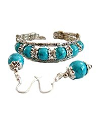 Turquoise and Silver Matching Bracelet and Earring Set