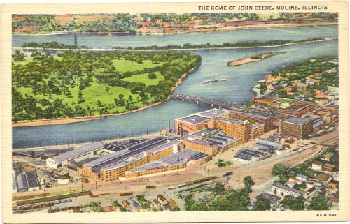 1940s Vintage Postcard - Aerial View of John Deere Factory - Moline Illinois
