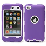 BZ Gadget Heavy Duty Defender Case Cover for Apple iPod Touch 4G 4th Gen (Purple/White) + BZ Gadget Cleaning Cloth
