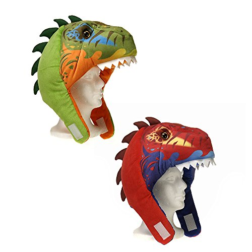 [Dinosaur Multi-Color Stuffed Plush Hat - 2 Pack, Ages 3 & Up, One Size] (Dinosaur Hats)