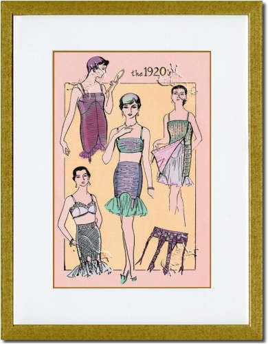 Gold Framed/Matted Print 17x23, The Flapper's Girdle
