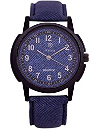 Rabela Analog Blue Dial Blue Leather Strap Watch RAB-720