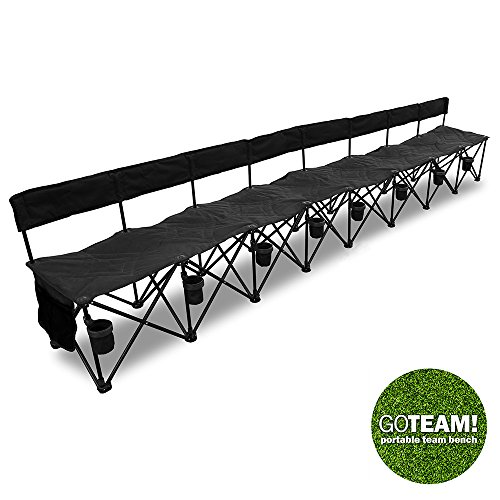 Goteam Pro 8 Seat Portable Folding Team Bench Black