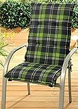 Gartenstuhlauflage für Hochlehner anthrazit grün kariert