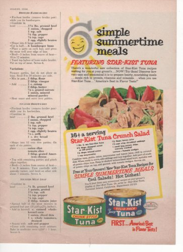 star-kist-chunk-style-tuna-solid-pack-tuna-6-simple-summertime-meals-recipes-1952-vintage-antique-ad