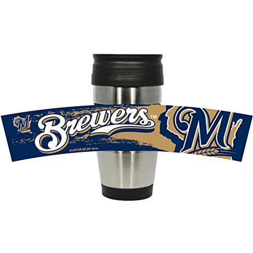 MLB Milwaukee Brewers Stainless Steel Travel Tumbler with PVC Wrap, 15-Ounce, Team Color