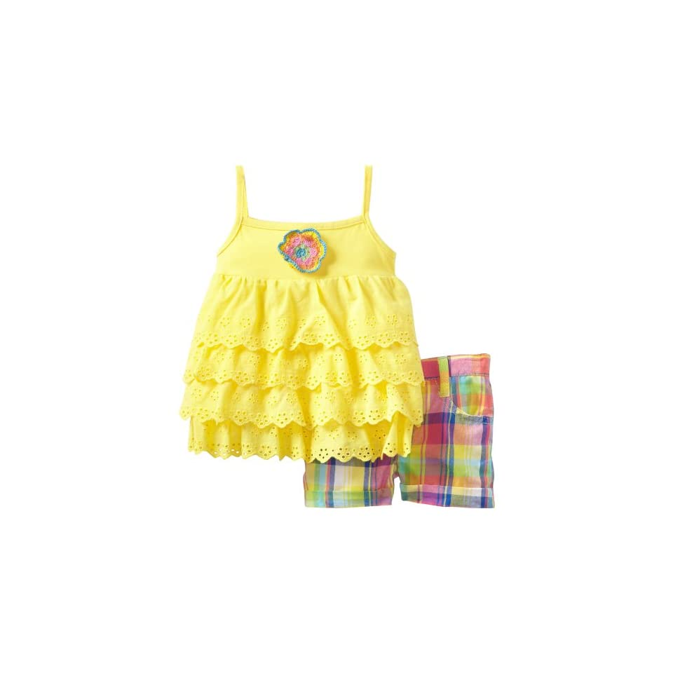 Young Hearts Baby Girls 2 Pieced Yellow Girls Knit Pullover And Woven Short Set, Yellow, 12 Months