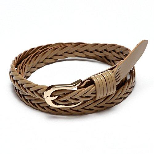 Damara Women Single Prong Buckle Braided Faux Leather Waist Belt,Khaki