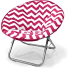 Plush Chevron Saucer Chair, Multiple Colors (Pink)