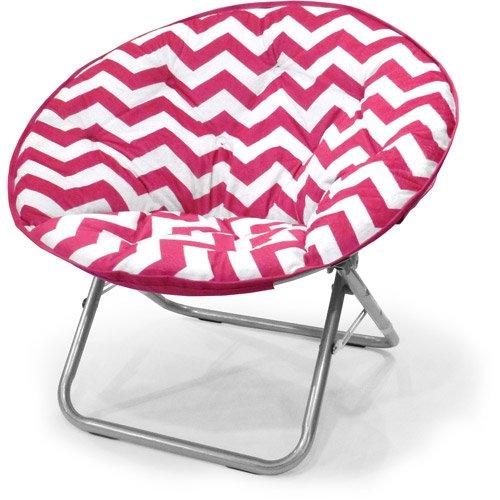 Plush Chevron Saucer Chair, Multiple Colors (Pink)