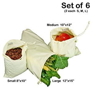 Simple Ecology Organic Cotton Muslin Produce Bag - Set of 6 (2 each of Lg., Med. & Sm.)