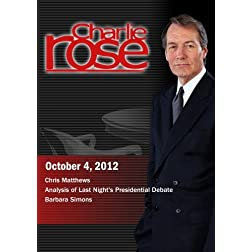 Charlie Rose - Chris Matthews / Analysis of Last Night's Presidential Debate / Barbara Simons (October 4, 2012)