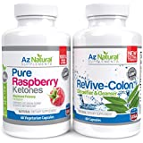 Az Natural - Raspberry Ketones and Colon Cleanse Re-vive - Duo Pack - 500mg 425mg - 120 Capsules One Month Supply - Fat Burner and Appetite Suppressant Slimming Pills - Blast Away Belly Fat And Accelerate Your Weight Loss Efforts to Achieve A Slimmer Body In No Time.