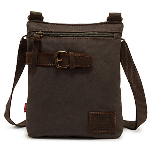 Museya Vintage stile Mens ragazzi svago tela piccola borsa a tracolla postino Messenger Bag borsa da viaggio (verde militare)