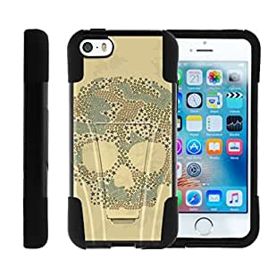 Iphone SE, Apple SE Kickstand Silicone Gel and PC Combo STRIKE Impact Cover with Dazzling Designs MINITURTLE - Pattern Skull