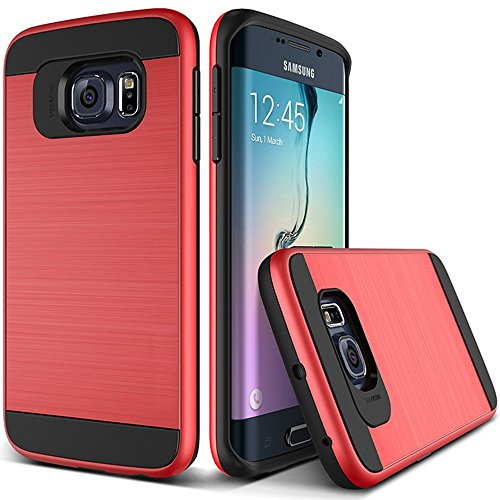 OnPrim Stylish Wiredrawing Surface Flexible Silicone Rubber And Hard PC Hybrid Double Layers Defend Armour Case For Samsung Galaxy S7 Edge 5.5 Inth Red