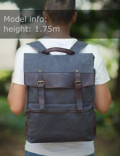 ZEKAR Vintage Waxed Canvas Leather Backpack, Multipurpose Daypacks 2