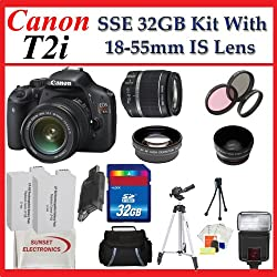Canon EOS Rebel T2i SLR Digital Camera Kit with Canon 18-55mm IS Lens + SSE PRO Shooter 32GB, Battery, Lens & Flash Complete Accessories Package (Everything you Need)