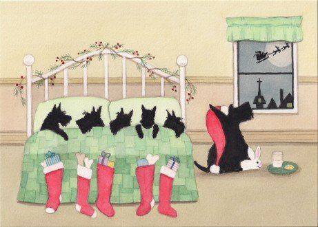Christmas cards: Scottish terrier (scottie) family