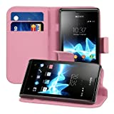 kwmobile® Elegant leather case for the Sony Xperia E with magnetic fastener and stand function in Hot Pink