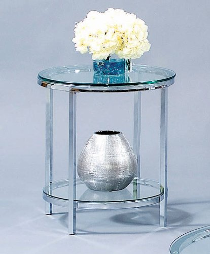 Image of Bassett Mirror Patinoire Round End Table in Chrome T1792-220 (T1792-220)