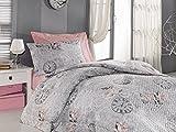 Caja de algodón Ran Young Grupo Set de cama individual (160x 220cm), color azul _ blanco multicolor blanco Talla:160 x 220 cm
