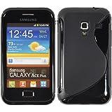 Silikon Hülle Samsung Galaxy Ace Plus - Schwarz - S7500 PhoneNatic TPU Case Silikon Cover Hülle Schutzhülle + Schutzfolie