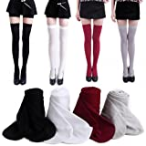 HDE Womens 4-Pack of Solid Color Opaque Thigh High Stockings