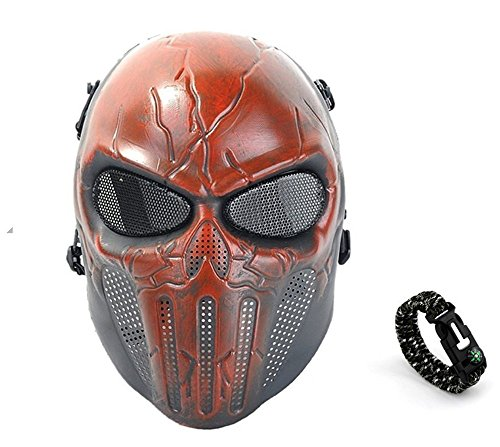 Tech-p Punisher Skeleton Mask - Protective Mask Gear for Use As Tactical Mask & Airsoft and Outdoor Cs War Game Mask - Scary Ghost Skull Mask for Halloween - Red and Black Cosplay Mask