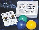: 3 Bälle & Jonglier-Anleitung (blau, grün, gelb): Große Jonglierbälle (jeweils 68mm/130g)