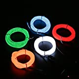 LEDMO 10ft Neon Glowing Strobing Electroluminescent Wire, Green White Orange Red Blue El Wire Kits 5 x 10 ft El Wires Inverter with Battery Operated for Party, Dance, Car Decor, Halloween Decoration