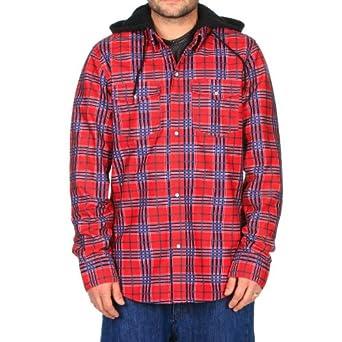 Volcom Redding Flannel Hoodie Lock Out Plaid Red Mens Sz M