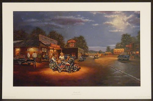 Route 66 by Dave Barnhouse 13.5x23 Harley Davidson Motorcycles Bikes Americana Unframed Art Print