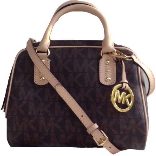 Michael Kors Signature Mk Logo Brown Small Satchel