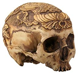 7.5'' Light Brown Colored Human Head Skull with Multi Designs Figurine by Summit