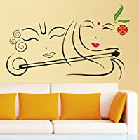StickersKart Wall Stickers Radhe Krishna with Flute (Wall Covering Area: 90cm x 60cm)