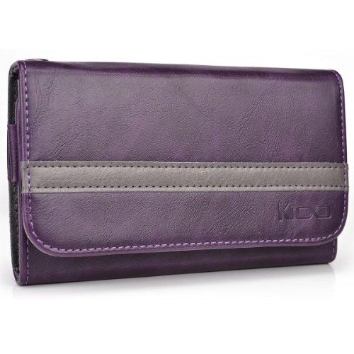 Kroo Samsung Galaxy S4 mini (I9190) Two-Tone Case | Purple - Grey Wallet with Credit Card Slots (Forro Para Samsung Galaxy S4 Mini compare prices)
