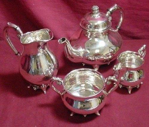 Grann & Laglye By Grann & Laglye Sterling Silver Tea Set Denmark Grape Motif 4Pc