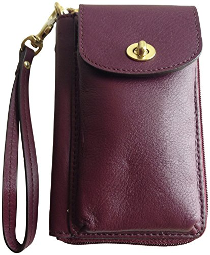 Coach Campbell Leather Universal Zip Phone Case Wristlet 50070 Bordeaux