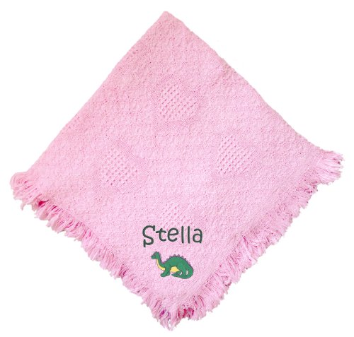 Dinosaur Pink 100% Cotton Custom Embroidered Personalized Baby Blanket Hot Pink Thread front-1062517