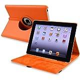 eForCity 360-degree Swivel Leather Case Compatible with Apple? iPad? 2 / iPad? 3rd Gen / The new iPad?/ iPad? with Retina display/ iPad? 4, Orange