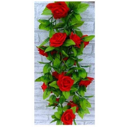 Artificial Rose Silk Flower Green Leaf Vine Garland Home Wall Party Decor Wedding Decal (Reds)