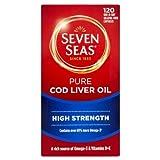 Seven Seas Pure Cod Liver Oil High Strength With Omega 3 Plus Vitamins D & E 120 Capsules