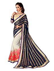 AG Lifestyle Navy Blue Chiffon & Satin Pallu Saree With Unstitched Blouse SAV4203A