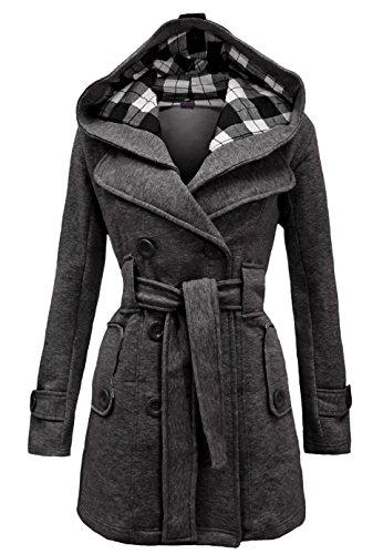 Noroze Womens Check Hood Plus Size Duffle Coat (8 (UK 12), Charcoal)