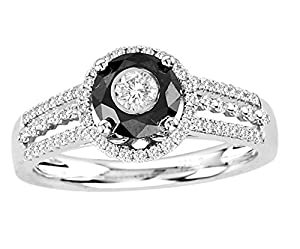 18kt White Gold Black and White Diamond Ring 1.00ct TW