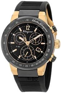 Salvatore Ferragamo Men's F55LCQ75909 S113 F-80 Rose Gold Plated Black Dial Chronograph Watch by Salvatore Ferragamo