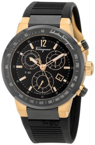 Ferragamo Men's F55LCQ75909 S113 F-80 Rose Gold Plated Black Dial Chronograph Watch